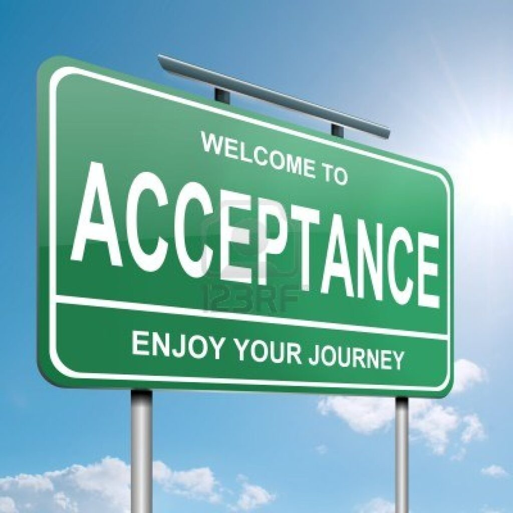 acceptance road sign