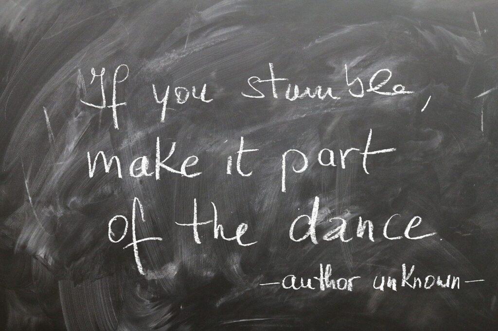 board, chalk, stumble