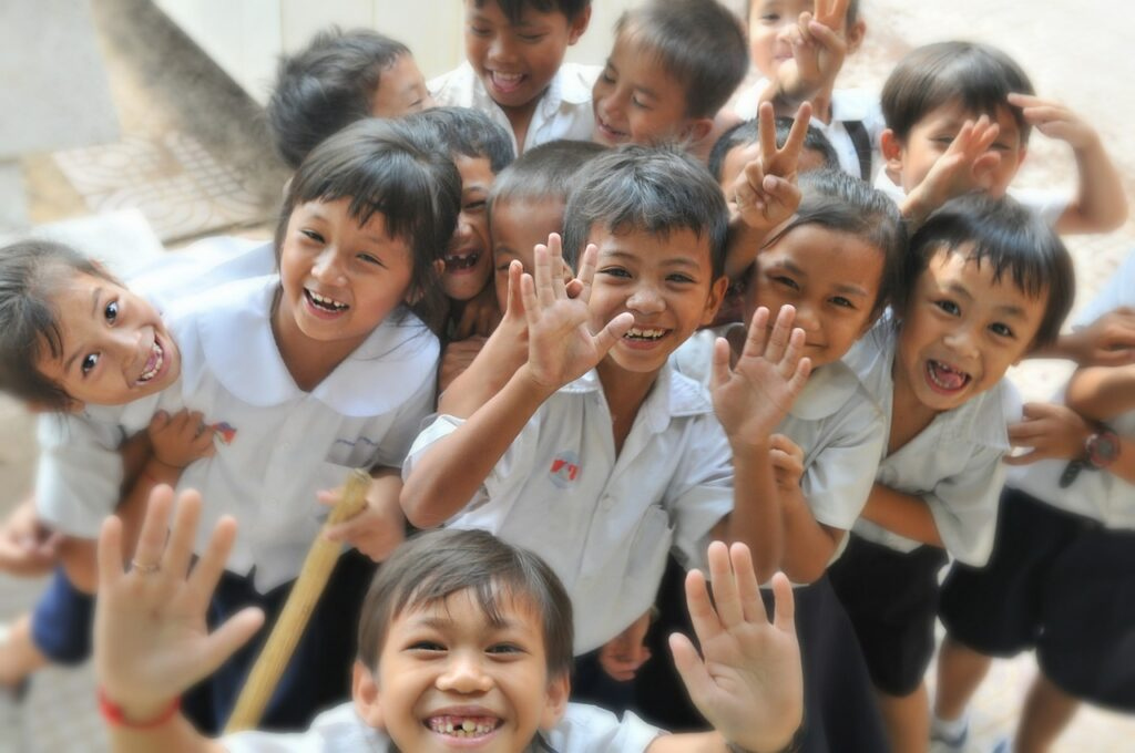 children, school, laughing